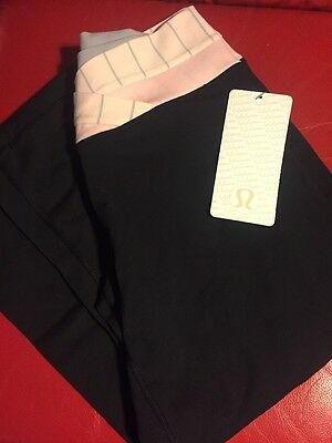 New Htf Lululemon Run Dharana Crop Work Out Pants Yoga Size 8 Pink Grey