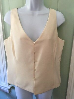 (Carlisle Ivory Cream Silk V-Neck Button Front Lined Tank Career Top Size 10)