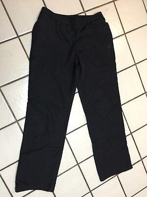 ADIDAS 3 Stripe Black On Black Logo Lined Warm Up Pants Track Running_Mens M