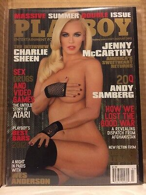Playboy Magazine July August 2012 Jenny Mccarthy Like New    Charlie Sheen