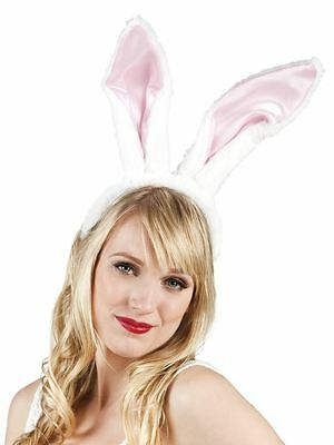 Womens Big Bunny Rabbit Pink Ears on Headband Hen Party Fancy Dress Animals