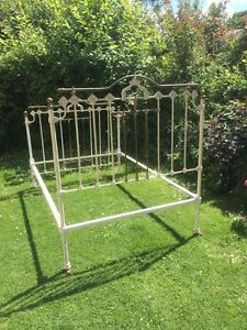 Victorian Antique Iron And Brass Double Bed