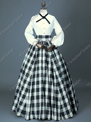 Victorian Country Maid Pioneer Women Dickens Plaid Dress Gown Halloween Wear - Victorian Maid Kostüm