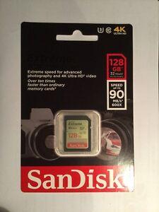 SanDisk Extreme 128GB 90MB/s Class 10 SDXC SD - France - État : Neuf: Objet neuf et intact, n'ayant jamais servi, non ouvert, vendu dans son emballage d'origine (lorsqu'il y en a un). L'emballage doit tre le mme que celui de l'objet vendu en magasin, sauf si l'objet a été emballé par le fabricant d - France