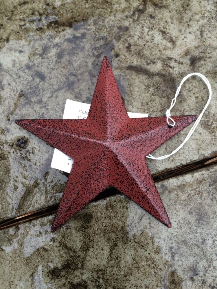 "Burgundy BLACK BARN STARS 3.5"" SET OF 6 PRIMITIVE DECOR COUNTRY ""FREE SHIPPING"""
