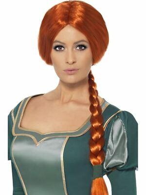 Lang Kastanienbraun Geflochten Perücke,Shrek Prinzessin Fiona Perücke - Lange Geflochtene Perücke Prinzessin