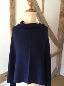 Luxury Cashmere/wool/viscose Blend  Multiway Poncho In Midnight Navy Blue.