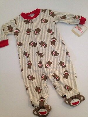 Baby Starters Sock Monkey Boy Coverall Outfit Pajamas Size 3 6 9 Months Striped - Baby Sock Monkey