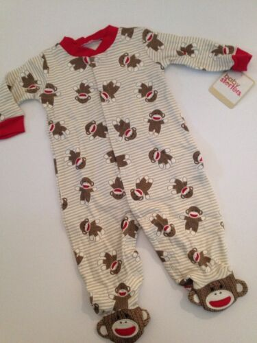 Baby Starters Sock Monkey Boy Coverall Outfit Pajamas Size 3