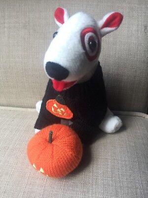Target Dog Plush Pumpkin Stuffed Toy Doll Bullseye Halloween Sweater