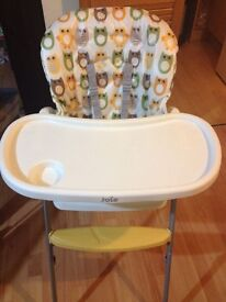 Joie Mimzy Snacker Owls highchair with new chair unit + new extra padded cover