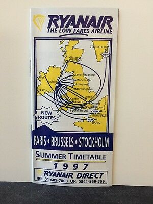 Vintage 1997 Ryanair Airlines System Timetable Schedule Uk Ireland