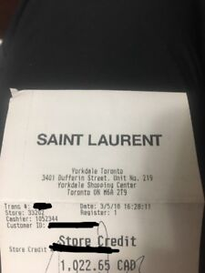 Saint Laurent Gift Certifciate/ Gift Card