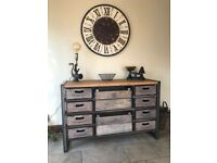 Custom Made Industrial Style Sideboard Hand Crafted From Steel, Crates And Solid Oak