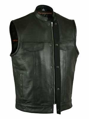 Mens Sons Of Anarchy Leather Vest With 2 Gun 2 Chest Pockets Single Back Panel