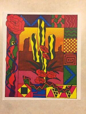 Vintage T-shirt Heat Transfer Cactus Western Art Tiles Southwestern Geometric