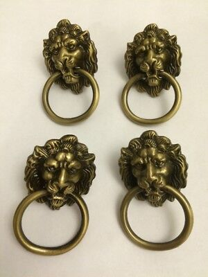 4X Bronze/brass Lions Head Handles,Lion Head drawer Knob,vintage Draw Pull Ring