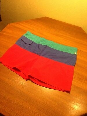 Vtg Jantzen Color Block Swim Trunks Suit Pocket Lifeguard 42 USA