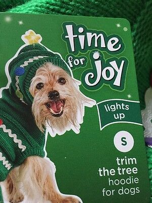 Petco Holiday Time For Joy Green Christmas Tree Sweater Lights Up Puppy Dog Sm