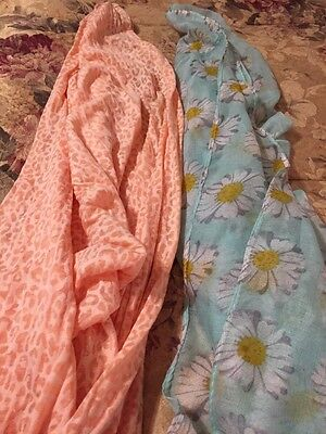 Lot Of Two Infinity Scarves Salmon Color And Flower Print Great Condition Spring