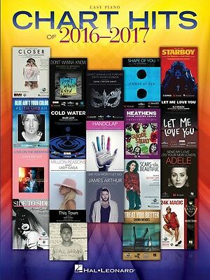 Chart Hits of 2016-2017 Sheet Music Easy Piano SongBook NEW 000225439