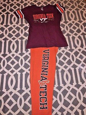 VIRGINIA TECH HOKIES Lounging Pants Pajamas Casual Sweats & T Shirt Womens Sz S - Virginia T-shirt Sweatshirt