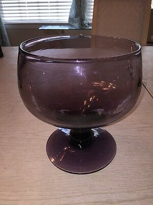 Vintage Handblown Glass Amethyst Purple Large Compote Dish Bowl Pedestal