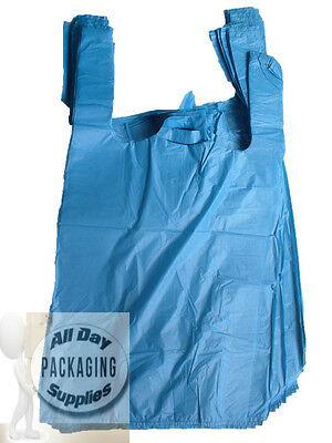 500 BLUE POLYTHENE VEST CARRIER SHOPPING BAGS SIZE 11 X 17 X 21
