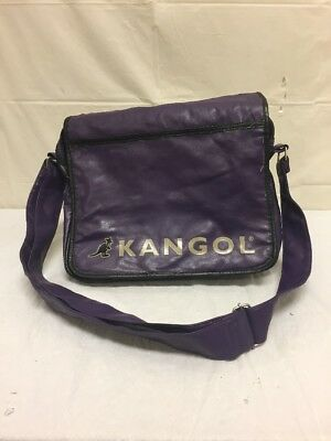 Vintage Kangol Purple Leather Messanger Bag w/ Shoulder Strap MacBook Case, used for sale  Shipping to India