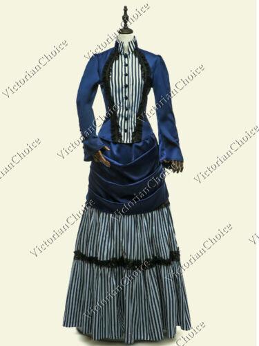 Victorian Edwardian Blue Striped Steampunk Bustle Dress Riding Habit Gown 139