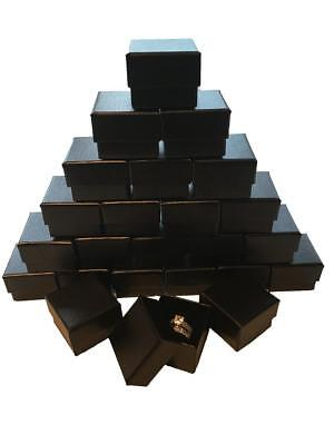 Lot of 20 Black Ring Gift Box with Foam and Velvet Insert 1.5 x 1.5 x 1.25 Inch