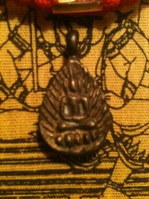 Buddha Amulet Yoga Meditation Pendant Bracelet & Thai Tattoo Prayer Cloth OOP NR