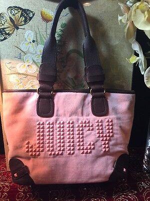 (Juicy Couture  Pink Velour w Brown Leather Trim Medium Tote Bag Pink Rhinestones)