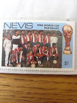 1986 World Cup Stamp: Nevis - Paraguay Team
