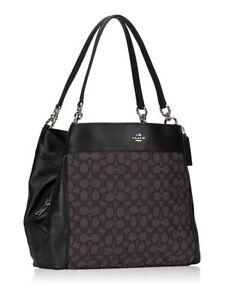 ba6161f31a7f Coach F57612 Outline Signature Lexy Shoulder Bag Black Smoke for ...
