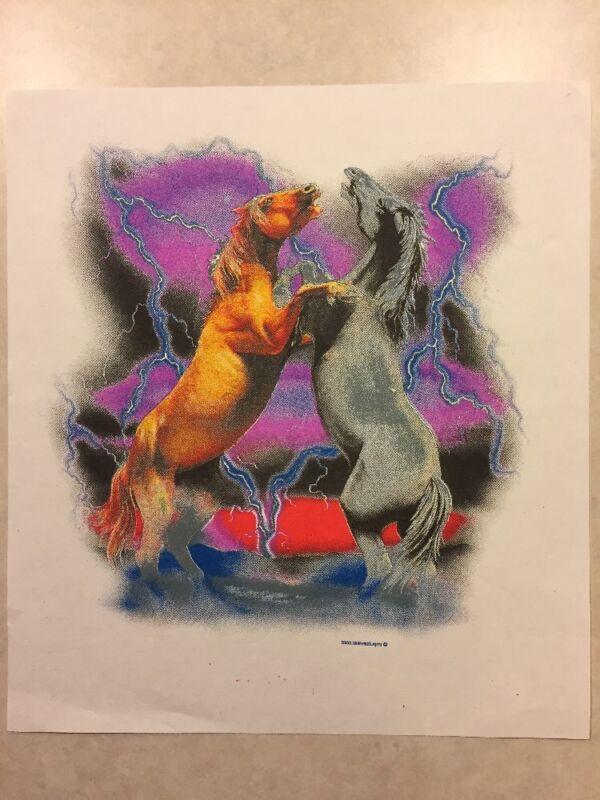 Vintage T-Shirt Heat Transfer Horse Challenge/Battle, Lightning by impulsewear