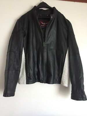 (STREET LEGAL by Wilson's B&W Leather Cafe Racer Motorcycle Jacket Men's Size L )