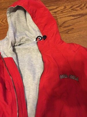 LAL Men's Coca-Cola Jacket Medium Nylon Shell Red Hooded Polyester Lined Zip EUC