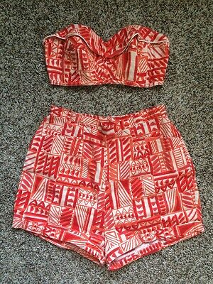 "True Vtg 50s Pinup 2 Piece Pinup Playsuit Tiki High Waist Short Bra Sun Top 24""W"