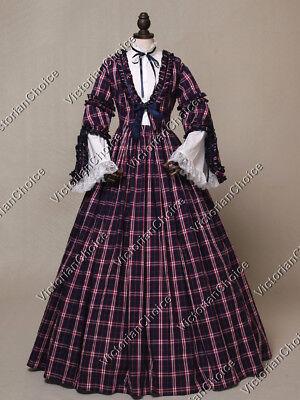 Victorian Old West Pioneer Women Plaid Dress Theater Halloween Costume N 158 - Victorian Halloween Costumes Women