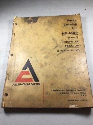 Allis Chalmers Hd-16dp Series B Crawler Dozer Parts Catalog Manual