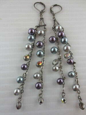 Dangling Silvertone Multi Color Faux Pearl AB Glass Bead Chain Earrings 3