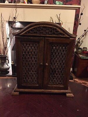 Gorgeous Little Vintage Wooden Cabinet With Screen Doors
