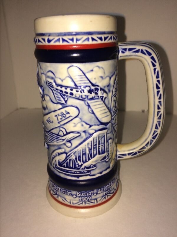 Avon Mug Stein Cup Aviation Airplanes Numbered Dated Brazil 1982 Wright Ford