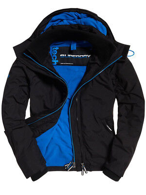 MENS SUPERDRY POP ZIP HOOD ARTIC BLACK/SUPER DENBY WINDCHEATER JACKET