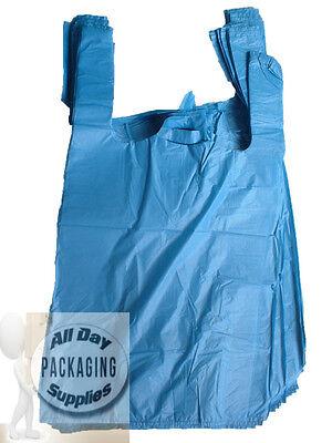 200 BLUE POLYTHENE VEST CARRIER SHOPPING BAGS SIZE 11 X 17 X 21