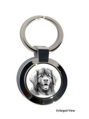 Leonberger Dog Round Chrome Plated Keyring Key Fob Boxed Gift