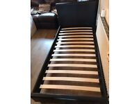 Brown Single Leather Bed