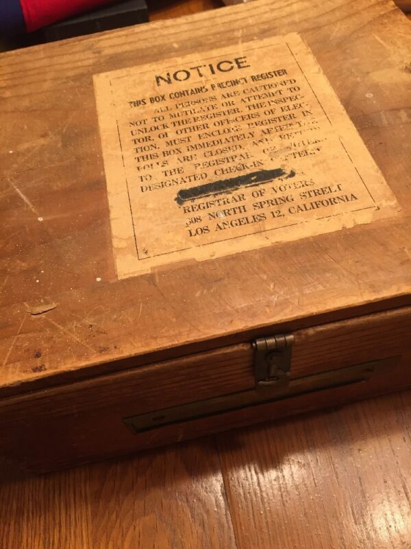 RARE VINTAGE WOODEN VOTER PRECINCT REGISTER BOX LOS ANGELES, CA-PIECE OF HISTORY