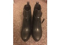 Ladies Black Leather Boots - Size 5 - Brand New
